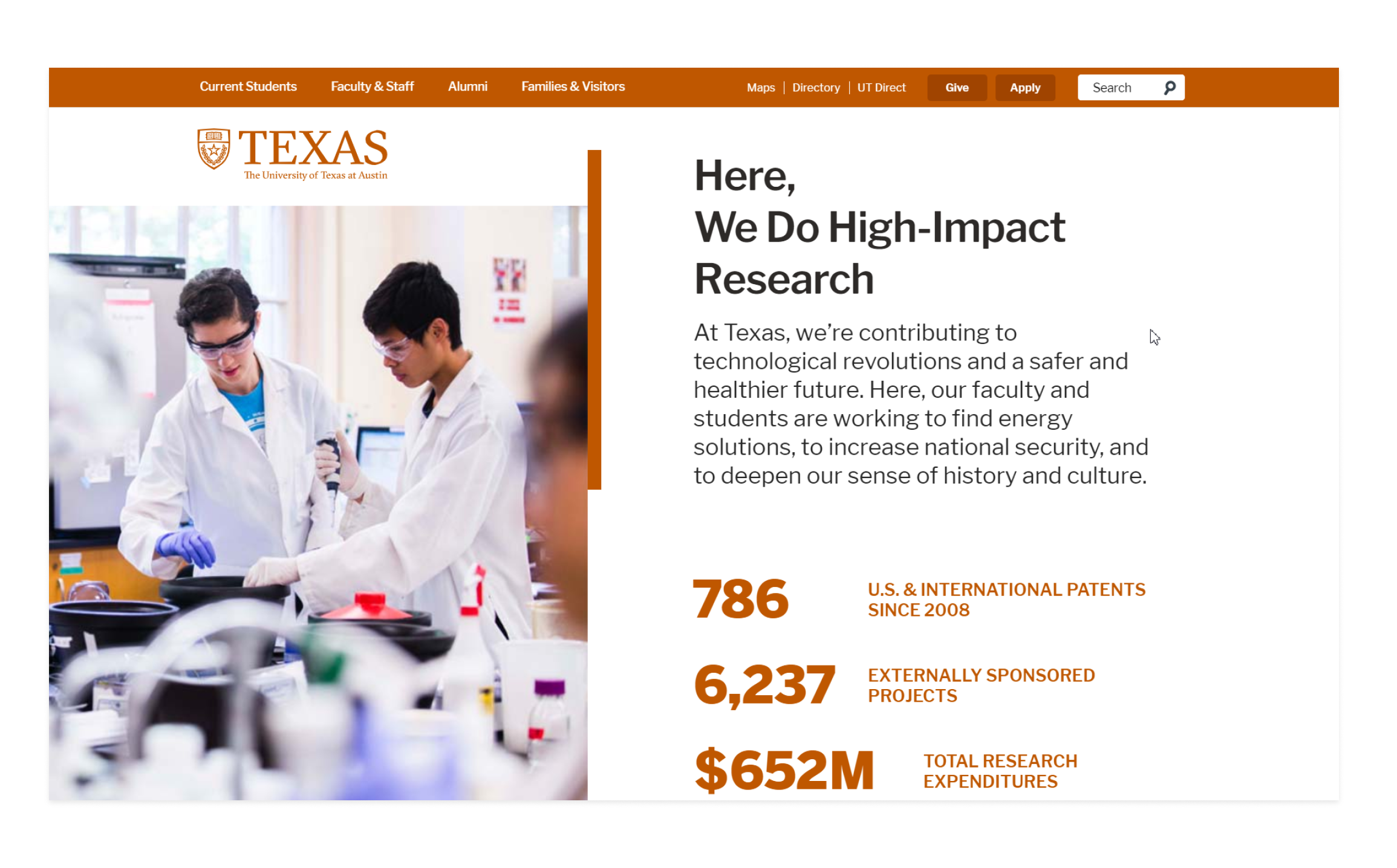 The University of Texas at Austin website