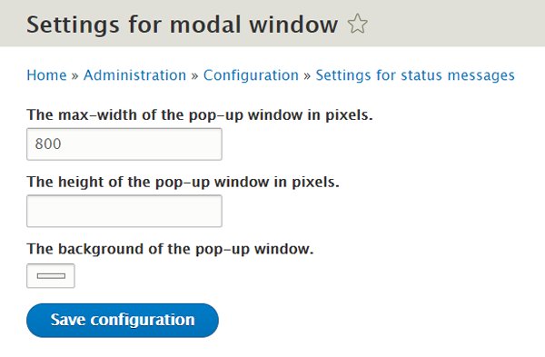 Settings for modal window