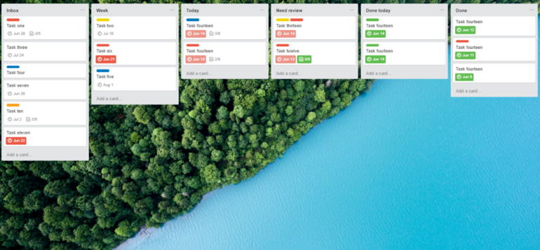 Example of how a Trello board can look like