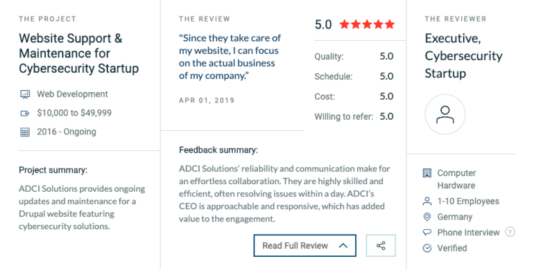ADCI Solutions Clients Reviews